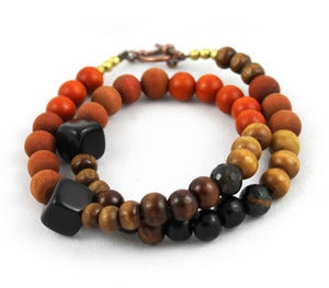 Image of Wood & Stone Gradient Wrap Bracelet