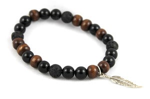 Image of Wood, Lava Beads, & Silver Feather Bracelet