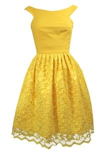 Image of Yellow linen and lace party dress ONE OF A KIND