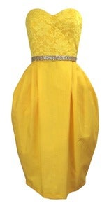 Image of Yellow linen strapless tulip dress ONE OF A KIND