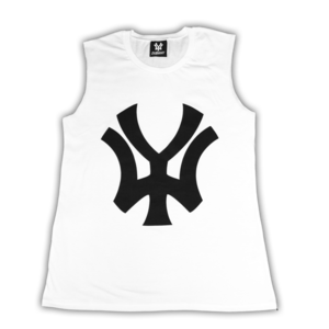 Image of 'WY' Women's Sleeveless T-Shirt - White/Black