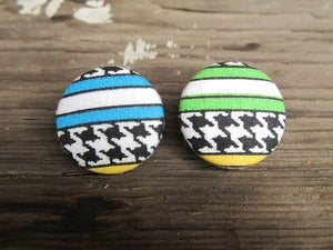 Image of Houndstooth Button Earring Collection