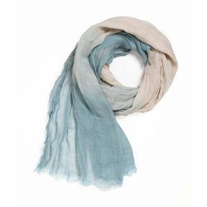 Image of Sea Open Weave Linen Ombré Scarf