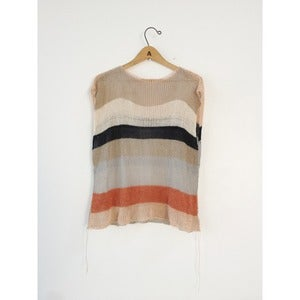 Image of Linen Color Block Top | Cream, Orange, Navy