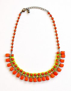 Image of Neon Orange Bib Necklace