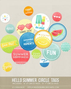 Image of *NEW* Hello Summer Circle Tags (Digital)