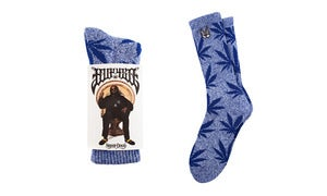 Image of HUF Plantlife Socks - HUF X Snoop 420 BLUE