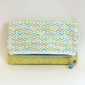 Image of foldover clutch - lime green herringbone