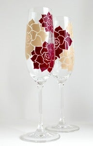 Image of Succulent Stone Rose Champagne Flutes - Set of 2 Custom Toasting Flutes