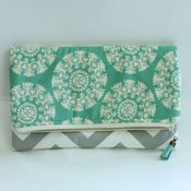 Image of foldover clutch - grey chevron with aqua medallions