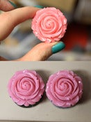 "Image of 1 1/4"" Pink Rose Plugs!"