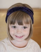 Image of dark purple crushed velvet mini turban