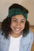 Image of green and black plaid turban