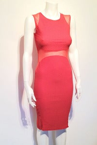 Image of textured jersey mesh inserts body con midi dress