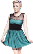 Image of Sourpuss 'Mary Lu' Dress Blue