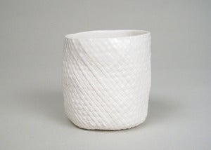 Image of medium porcelain basket cup