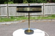 Image of Vintage black enameled steel and brass UFO desk/table lamp circa 1960s