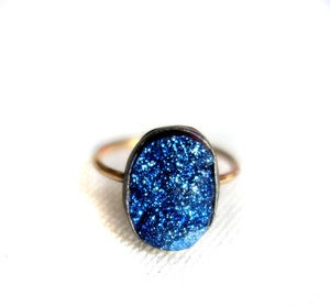 Image of Blue Drusy on 14k Gold Fill Band