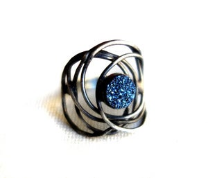 Image of Blue Drusy Nest Ring