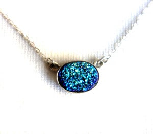 Image of Oval Teal Drusy Necklace