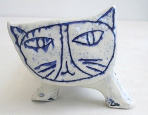 Image of blue and white crackly cat