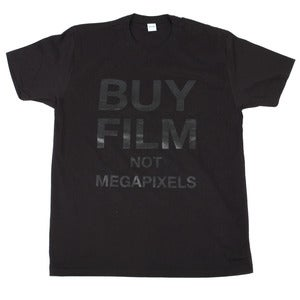 Image of BUY FILM NOT MEGAPIXELS Tee | Black on Black