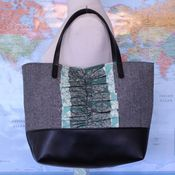 Image of city tote - aqua medallion ruffle