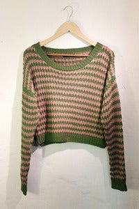 Image of open knit drop shoulders stripy jumper by TLO