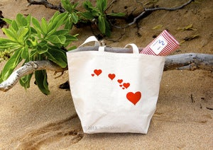 Image of State of Love Hawaiian Island Chain Organic Recycled Cotton Canvas Market Tote Bag Charity