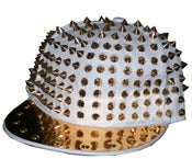 Image of Studded Spike Snapback Hat In White