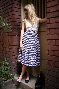 Image of Gauze Printed Dress