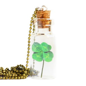 Image of Bottled Treasures - Four Leaf Clover Necklace