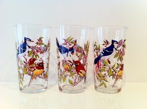 Image of VINTAGE SET OF 6 TROPICAL BIRD GLASSES