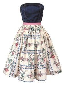Image of Navy Floral Strapless Dress - ONE OF A KIND