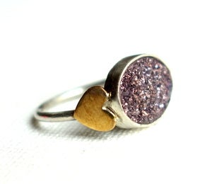 Image of Lilac Drusy Ring with Hearts