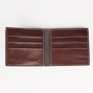 Image of Classic Leather Credit Card Wallet Grey/ Marroon