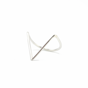 Image of Demi. Sharp Chevron Silver Ring