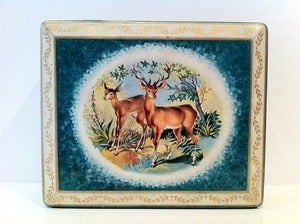 Image of VINTAGE BLUE BIRD HARRY VINCENT DEER TIN