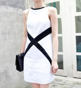 Image of Cross Canvas Monochrome Dress -White