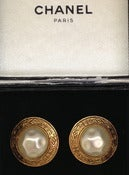 Image of Vintage Chanel Faux Pearl Earrings