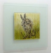 Image of Running Hare Glass Picture 50cm