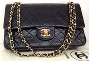 Image of Vintage Classic Chanel Black Lamb Skin Double Flap Handbag