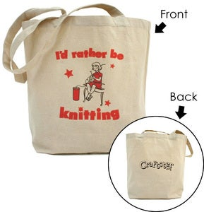 Craftster — I'd Rather be Knitting Tote Bag w/ Craftster Logo