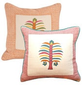 "Image of Fez Palm with Moroccan Stripe Border 18"" Pillow"