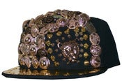 Image of Leopard Studded Metal Snapback Hat in Black