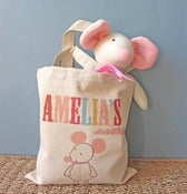Image of Knitted Mouse in Personalised Tote Bag