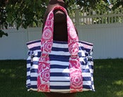 Image of Fuschia/Navy Shore Bag