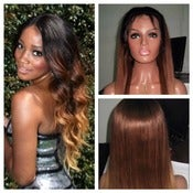 "Image of Gradient Ombre Celebrity Style Human Hair 20"" Silky Straight Human Hair Full Lace Wig!"