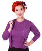 Image of Bettie Page Purple Button Down Cardigan