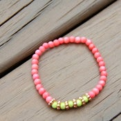 Image of mrd arm candy- coral & neon green bracelet